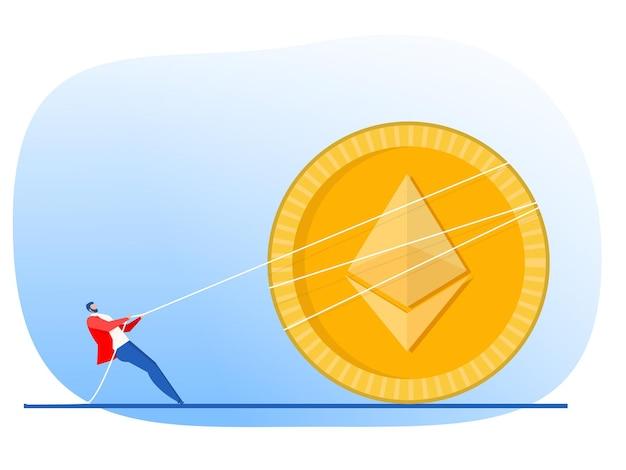 El empresario tira de la cuerda hacia arriba la flecha del concepto de crecimiento de la moneda ethereum vector diseño plano.