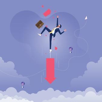 Empresario tirando hacia abajo por la flecha, metáfora del fracaso-concepto de negocios y finanzas