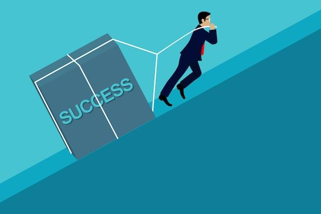 Empresario tirando el concreto cuesta arriba, vaya a la meta del éxito empresarial