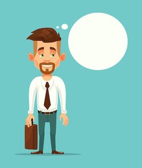 Empresario de trabajador de oficina pensando ilustración de dibujos animados plana de burbujas de discurso