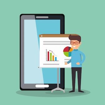 Empresario trabajando con smartphone