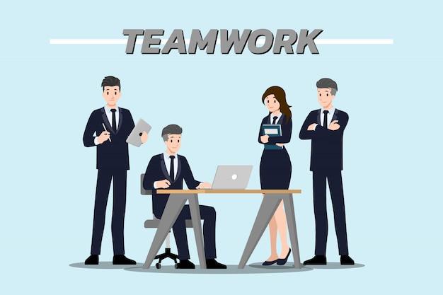 Empresario trabajo en equipo.