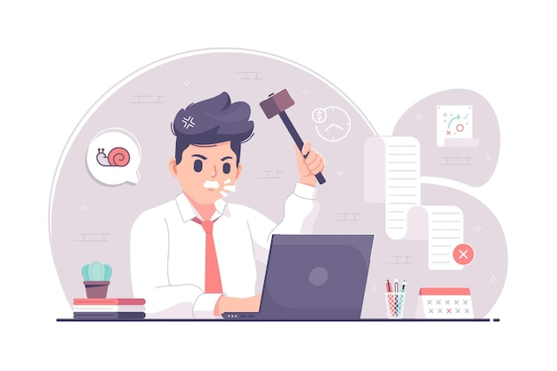 Empresario de trabajo de estrés emocional con ilustración de martillo