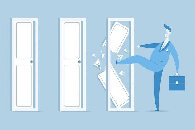 Empresario en un traje con una maleta romper puertas cerradas
