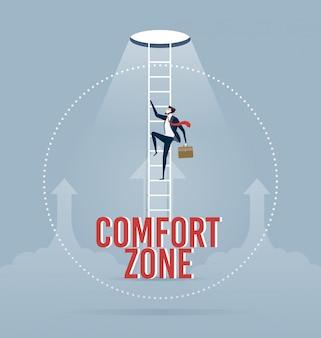 Empresario tratando de salir de su zona de confort