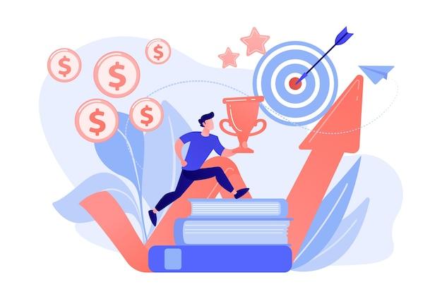 Empresario con trofeo saltando sobre libros para apuntar y flecha ascendente. motivación, éxito laboral, concepto de estímulo sobre fondo blanco.