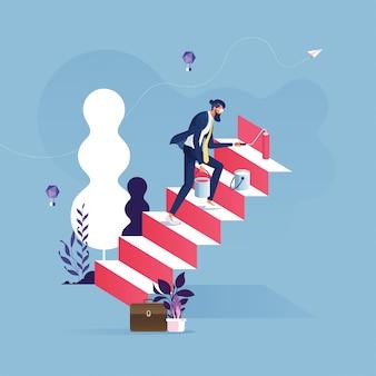 Empresario utiliza pincel para pintar una escalera al éxito-concepto de carrera empresarial