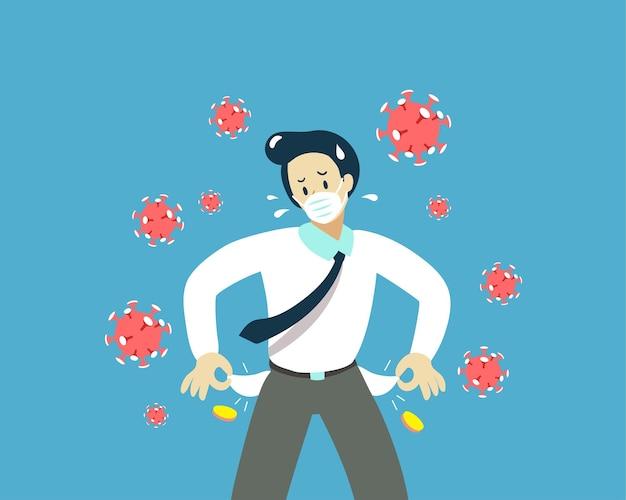 Empresario vistiendo una máscara protectora mostrando sus bolsillos vacíos