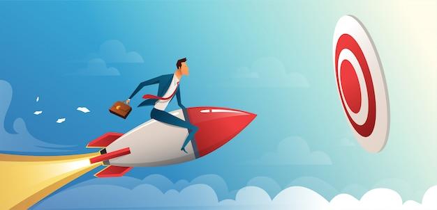 Empresario volando hacia adelante