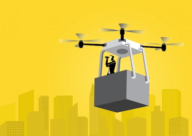 Empresario volando un avión no tripulado
