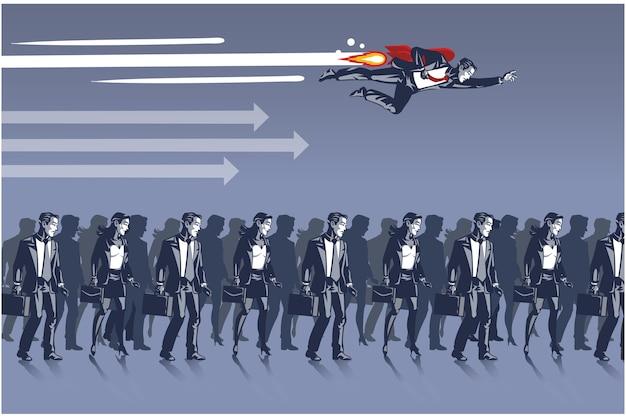 Empresario volando con cohete sobre otros rivales comerciales concepto de ilustración de cuello azul