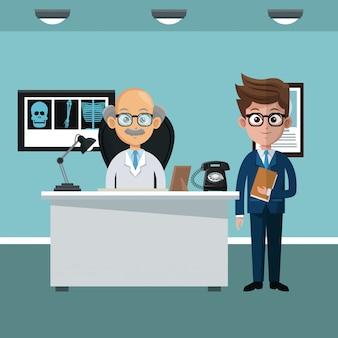 Empresario y doctor en caricaturas de la oficina