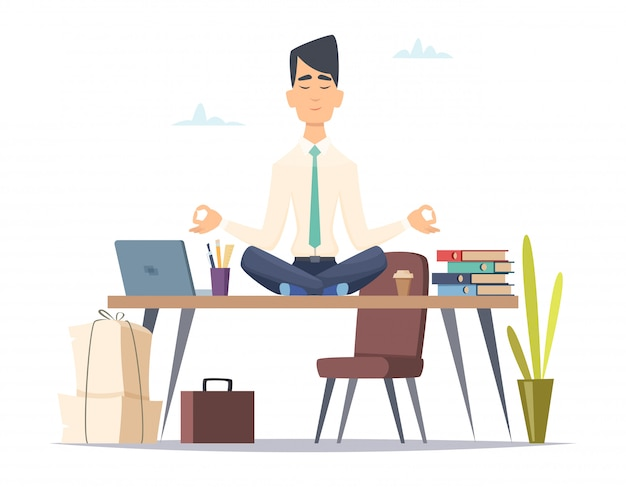 Empresario yoga meditación. oficina relajarse en el trabajo estresado hombre ocupado sentado en la práctica de yoga de loto en el espacio de trabajo