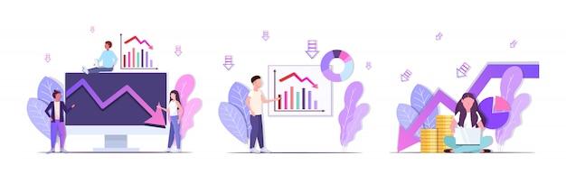 Empresarios analizando gráficos a la baja frustrados por la flecha económica cayendo crisis financiera bancarrota conceptos colección horizontal