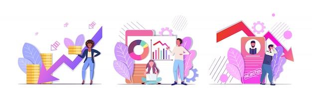 Empresarios analizando gráficos a la baja frustrados por la flecha económica cayendo crisis financiera bancarrota rechazado conceptos colección horizontal