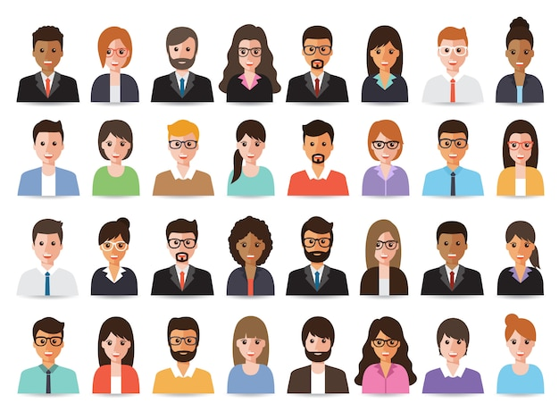 Empresarios y avatares de mujeres empresarias.