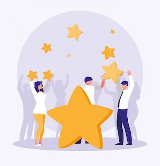 Empresarios celebrando con estrellas
