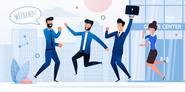 Empresarios celebrando fin de semana vector plano