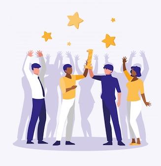 Empresarios celebrando con número uno y estrellas