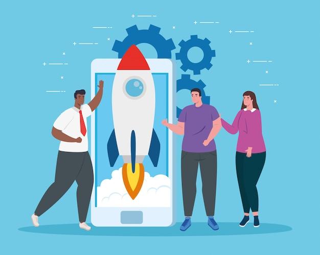 Empresarios con cohete de inicio en diseño de vector de teléfono inteligente