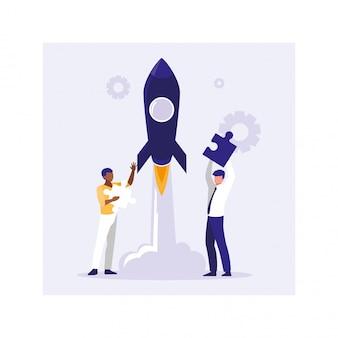 Empresarios con cohete volador, éxito de los negocios