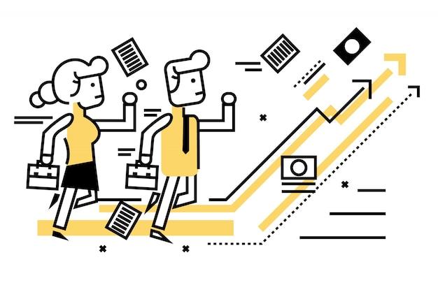 Empresarios competitivos con el negocio en el gráfico de destino. elementos de diseño de líneas delgadas planas. ilustración vectorial