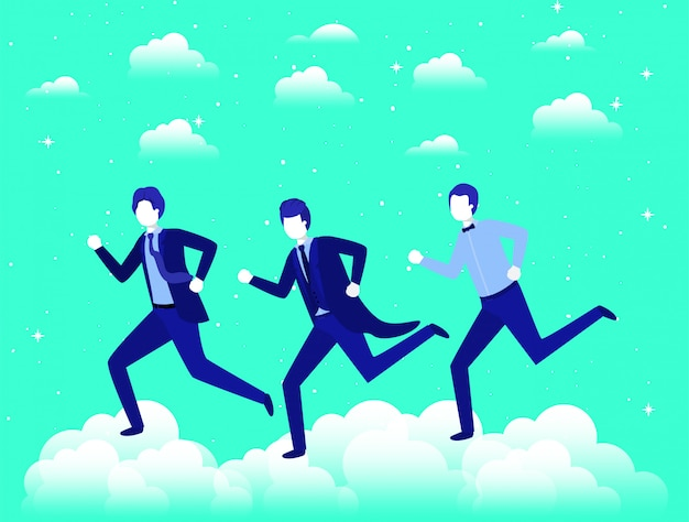 Empresarios compitiendo en el cielo