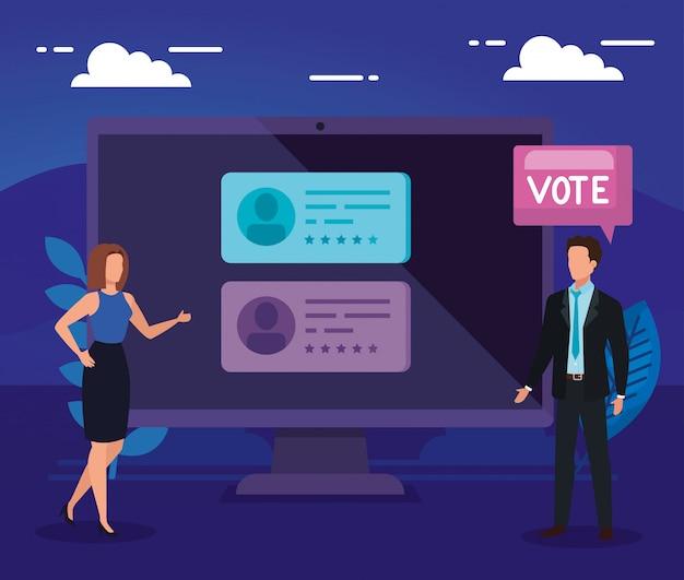 Empresarios con computadora para votar en línea