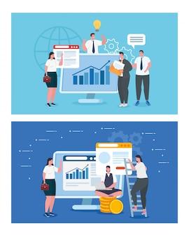 Empresarios con computadoras e infografía diseño vectorial
