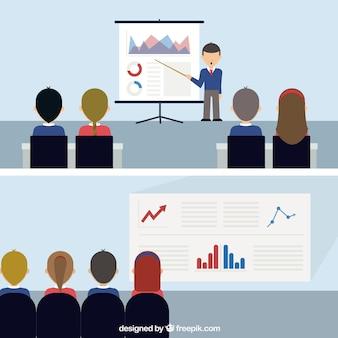 Empresarios con documentos estadísticos