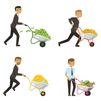 Empresarios conduciendo una carretilla con dinero.