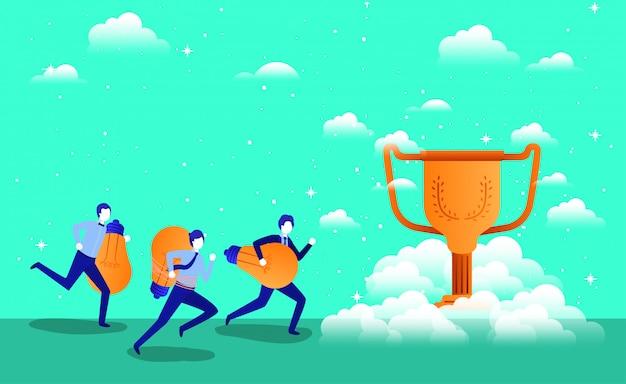 Empresarios con copa trofeo