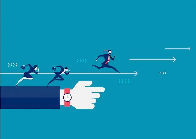 Empresarios corriendo hacia adelante buscando el éxito