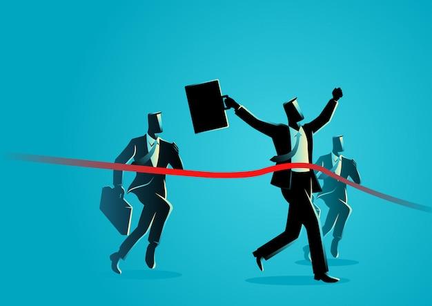 Empresarios corriendo cruzando la línea de meta