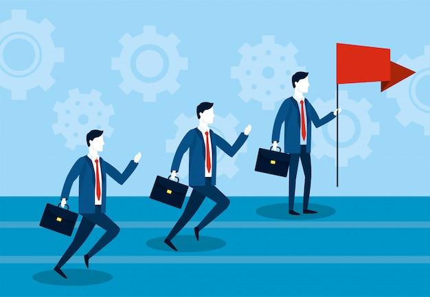Empresarios corriendo con maletín y bandera roja.