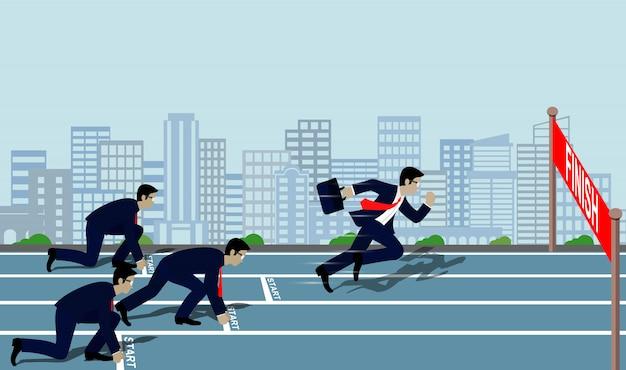 Empresarios corriendo hacia la meta del éxito