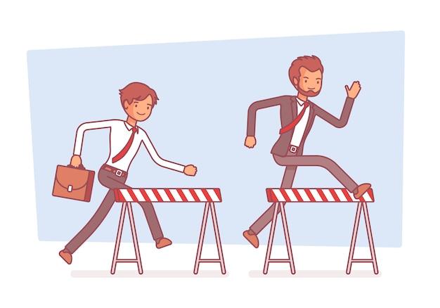 Empresarios corriendo sobre obstáculos