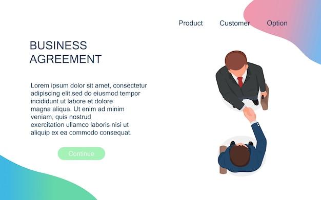 Los empresarios se dan la mano para cooperar y hacen un trato después de la reunión de negociación.