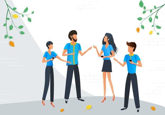 Empresarios de dibujos animados hablando comunicación
