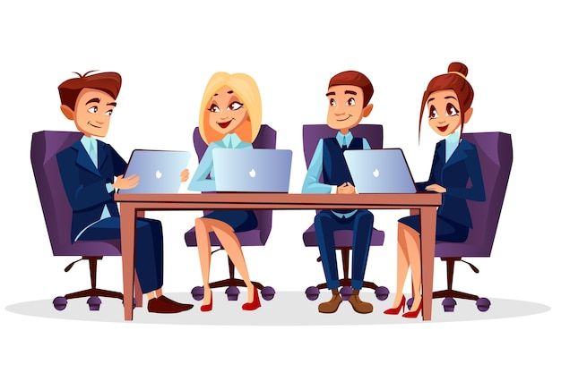 Empresarios de dibujos animados sentado en el escritorio con computadoras portátiles comunicarse en lluvia de ideas