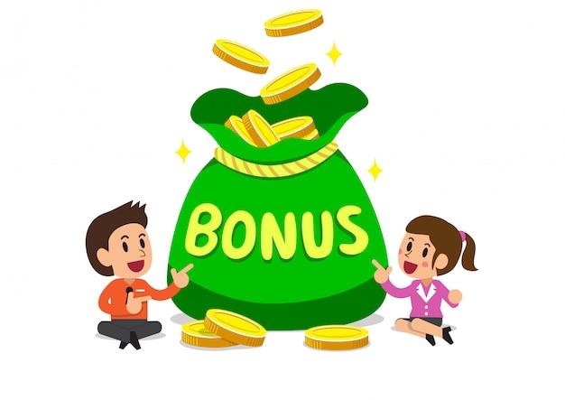 Empresarios de dibujos animados de vector con gran bolsa de dinero de bonificación