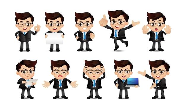 Empresarios con diferentes poses.