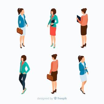 Empresarios de diseño isométrico con maletín