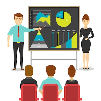 Empresarios en el diseño de presentación de joven y mujer cerca de tablero con estadísticas de digrams