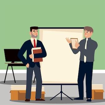 Empresarios, empresarios en la oficina con presentación de junta y documentos