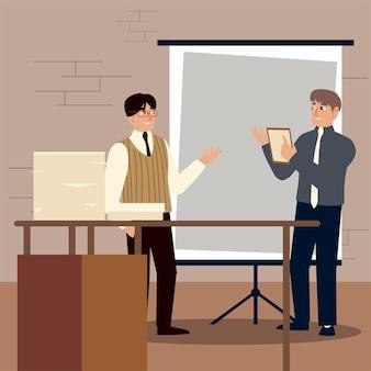 Empresarios, empresarios que trabajan con documentos y presentación de la junta.