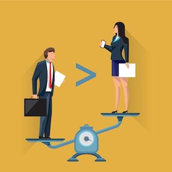 Empresarios en escalas en posiciones desiguales