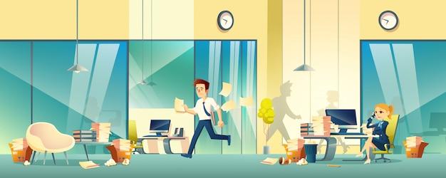 Empresarios estresados en caricatura de oficina
