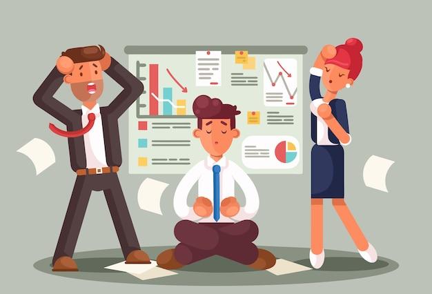 Empresarios estresados mirando un gráfico de malos resultados. los negocios fracasan. grafica abajo