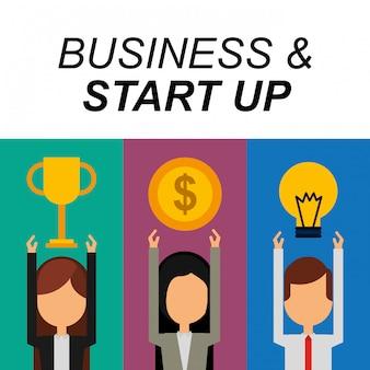 Empresarios éxito trofeo dinero bulbo idea negocio y puesta en marcha